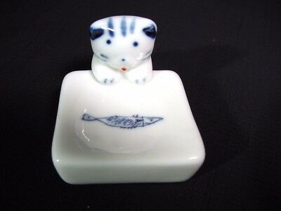 Ceramic Hashioki Chopstick Rest Watchful Cat and Fish on the Plate