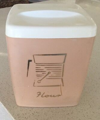 CANISTER - PLASTIC 'NALLY BRAND' --FLOUR --PINK WITH WHITE LID - 1950's VINTAGE