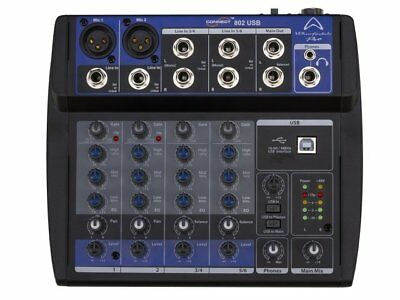 Wharfedale Connect802 micro-mixer with USB, 8 inputs, 2 outputs