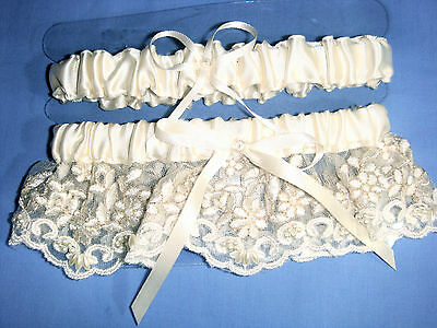 Wedding Accessories Garter for Bridal, Ivory, Lace & Pearls. New