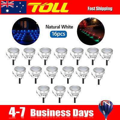Pack of 16Recessed LED Deck Lighting Kits Outdoor Garden Cool White 50,000 hours