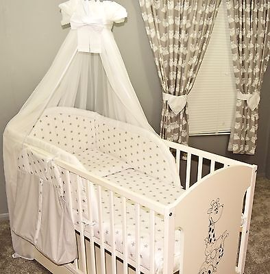 9 pc NURSERY BABY BEDDING SET canopy /bumper/canopy 4 BABY COT or COTBED/Cot Bed