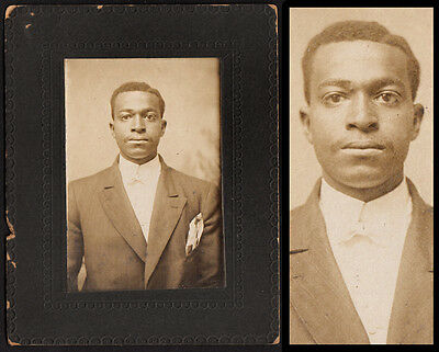 STOIC HANDSOME BLACK MAN in BOW TIE & SUIT ~ 1900s VINTAGE PHOTO