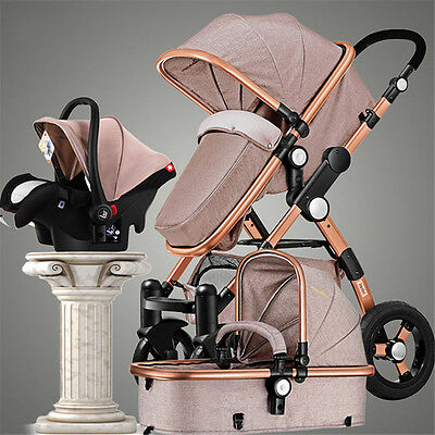 3 in 1 Luxury Baby Stroller High View Pram Foldable Pushchair Bassinet Car Seat