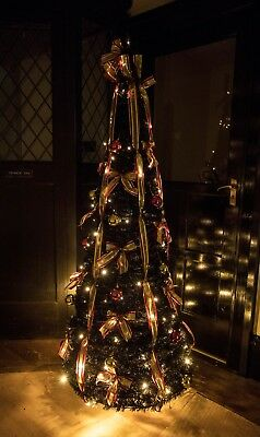 5ft Prelit Black Decorated Pop Up Christmas Tree With 100 Battery