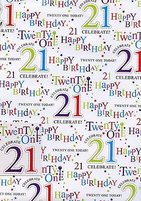 Male Female  21St Birthday 2 Sheets Of Gift Wrap Wrapping Paper +1 Tags 1Stp&p