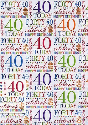 Male Female 40Th  Birthday 2 Sheets Of Gift Wrap Wrapping Paper +1 Tag 1Stp&p
