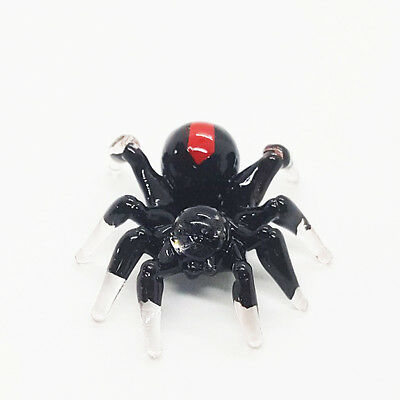 Spider Black Color Hand Blown Blowing Glass Art Animal Cute Fancy Collectibles