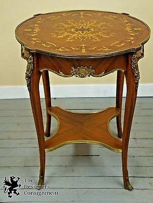 Antique Louis XV Marquetry Accent Table Inlaid Fruitwood Mahogany Brass French