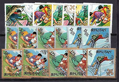 Bhutan Scouts/Scouting 3 x mint MNH and used set WS4904