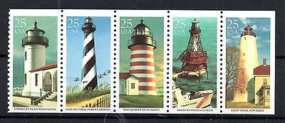 US 1990 Lighthouses MNH booklet pane SG2516-2520 WS4909