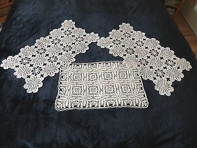 Three Vintage Hand Crochet Lace Tray Cloths