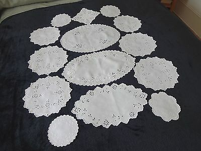 Fourteen Vintage White Linen and Cotton Hand Embroidered Doilies