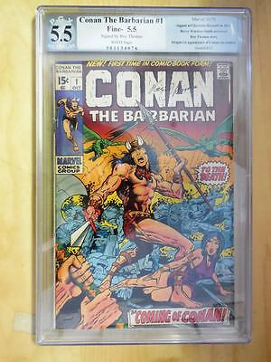Conan the Barbarian #1    PGX 5.5     Signed by Roy Thomas     White Pages