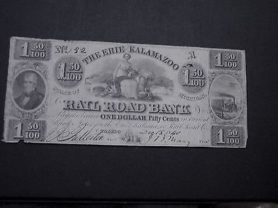 Obsolete currency Railroad Bank  From THE STATE OF Michigan 1840  $1.50 Note