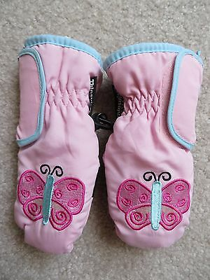 Toddler Girls Pink Thinsulate Butterfly Embroidered Mittens Size 2-4 VGUC