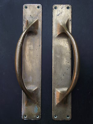 Pair of Late Victorian Large Brass Door Pull Handles reclaimed knobs edwardian