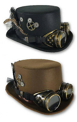 Adult Black or Brown Steampunk Top Hat Goggles Feathers Gears Accessory fnt