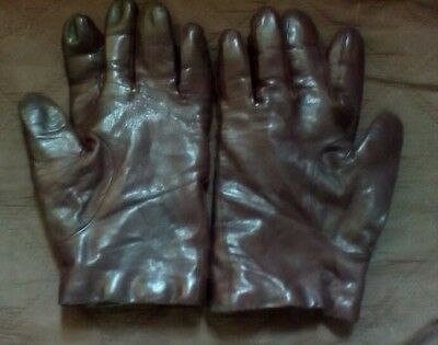 Vintage Brown Leather Ladies Gloves Size 7.5
