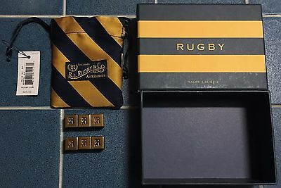Brand New in Box NIB Ralph Lauren Polo Rugby Brass Dice Silk Bag Collectable Set