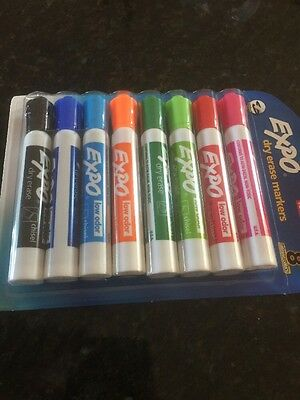 Expo Low-Odor Dry Erase Markers, Ultra-Fine Tip, 8-Pack, Assorted Colors New