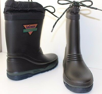 LACROSSE THERMONATOR USA size 3 YOUTH insulated rubber boots boy girl black snow