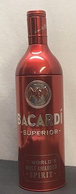 Bacardi Superior Tin Bottle Sleeve Holder 750ml Red Removable Top Empty