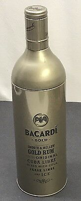 Bacardi Gold Tin Bottle Sleeve Holder 750ml Gold Removable Top Empty