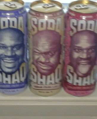 SHAQ SODA - BLUEBERRY, STRAWBERRY and VANILLA CREAM Soda FULL Cans