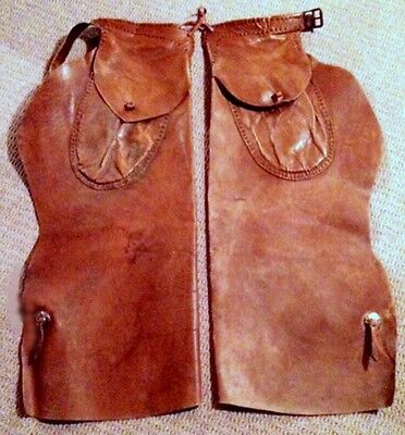 "Vintage Antique 35.5 x 26"" Old West Leather Batwing Chaps with Pockets"