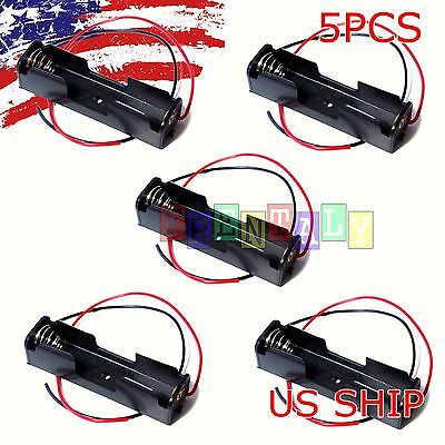 5Pcs Black Plastic Battery Holder Box Storage Case with Wire for 1 x 1.5V AA