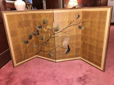 "Vintage Japanese 4 Panel Byobu Silk Screen Hand Painted/Artist Signed 73"" X 36"""