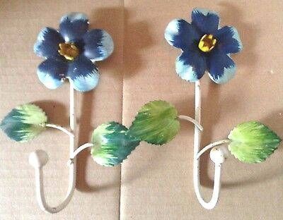 Pair Vintage 1950s-60s Metal Tole Ware Flower Hooks ITALY