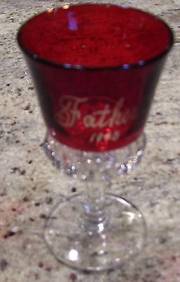 """Antique Stemmed Cordial Red on Crystal Glass Embossed """"Father 1908"""" Westmoreland"""