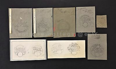 LOT 1957 vintage 7 PERFECTO OLIVE new orleans ART LABEL SKETCH Wm Reg Watkins