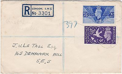 GB 1946 Victory Registered FDC RB51