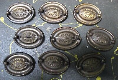Set of 9 Antique Brass-colored Dresser Drawer Pulls, Oval w/ 2-in. centers