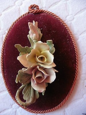 vintage capodimonte porcelain flower wall plaque measuring. Black Bedroom Furniture Sets. Home Design Ideas