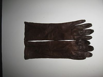 Vintage Long Brown Leather Gloves By Superb Size 7.5 - 14.5 inches long
