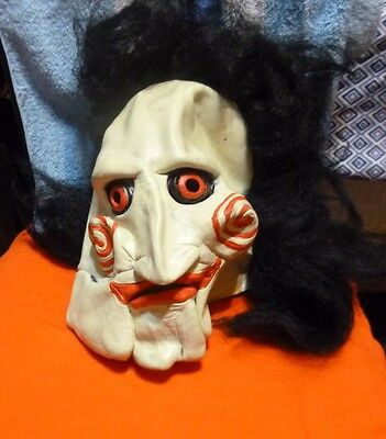Latex Halloween Mask Black Hair Zomble Face Fancy Party Costume Scary Dress Prop