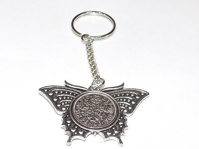 1954 Sixpence Butterfly Keyring for 65th Birthday Gift boxed