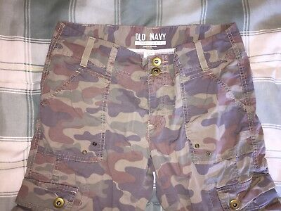 OLD NAVY Long Camo Camouflage Cargo Shorts Low Waist Size 6