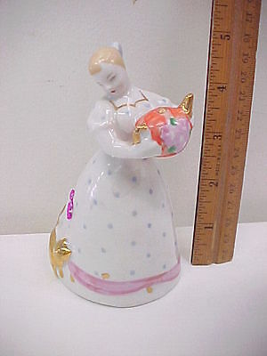 Small Vintage Girl Figure with Teapot & Cat Russia Soviet Union