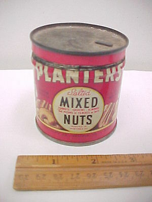 1944 Planters Mr. Peanut Salted Mixed Nuts Red Tin Can