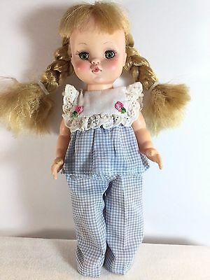 "Vintage Effanbee 11"" Doll - Blonde Braided Hair & Clothes - 1966 Eyes Open Close"