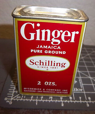 Vintage Schilling Ginger 2 oz spice tin, silver color top, great collectible