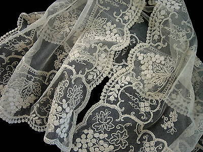 Exquisite Antique French Tambour Lace Runner MINT