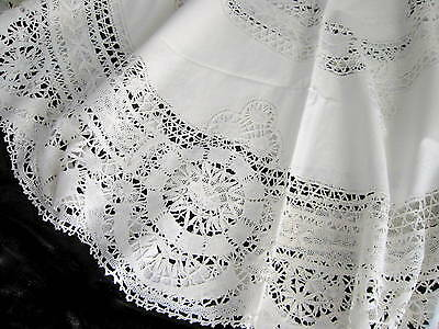 "Antique White Linen & Cluny Lace Large Round 63"" Tablecloth Estate Fresh"