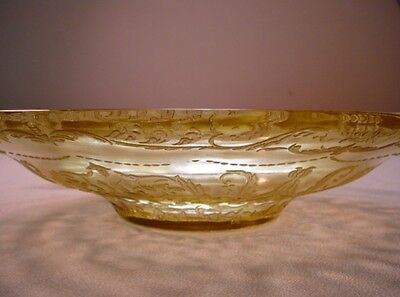 """ANTIQUE MADRID FEDERAL Depression Glass 11"""" LOW CONSOLE BOWL Butter yellow"""