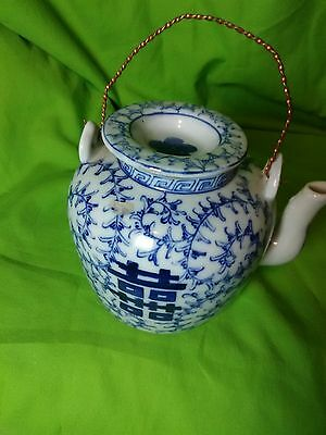 Rare Vintage/antique Chinese  Blue and White Porcelain Teapot With Mark